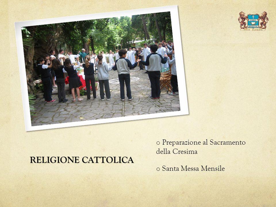 RELIGIONE CATTOLICA Preparazione al Sacramento della Cresima