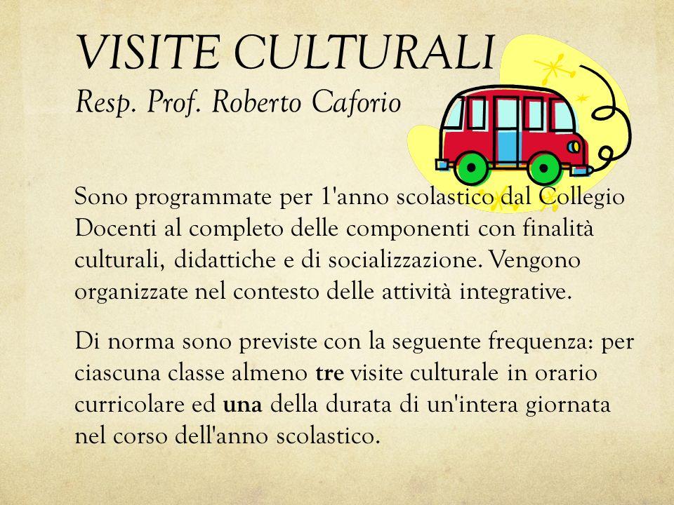 VISITE CULTURALI Resp. Prof. Roberto Caforio