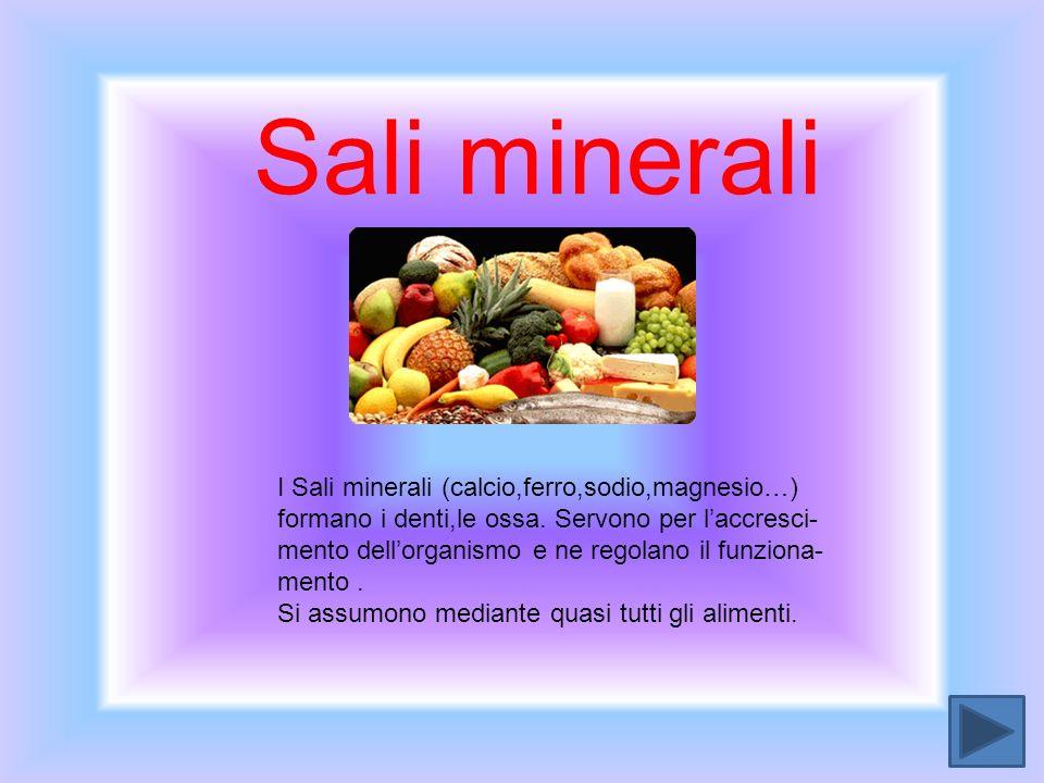 Sali minerali I Sali minerali (calcio,ferro,sodio,magnesio…)