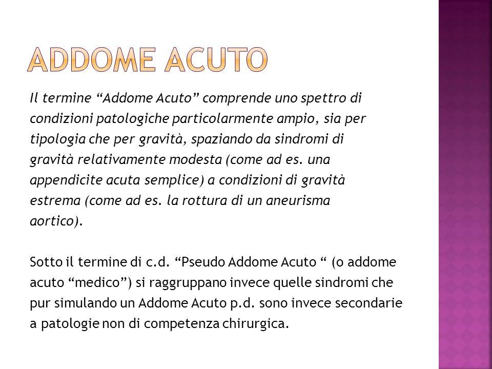ADDOME ACUTO Il termine Addome Acuto comprende uno spettro di