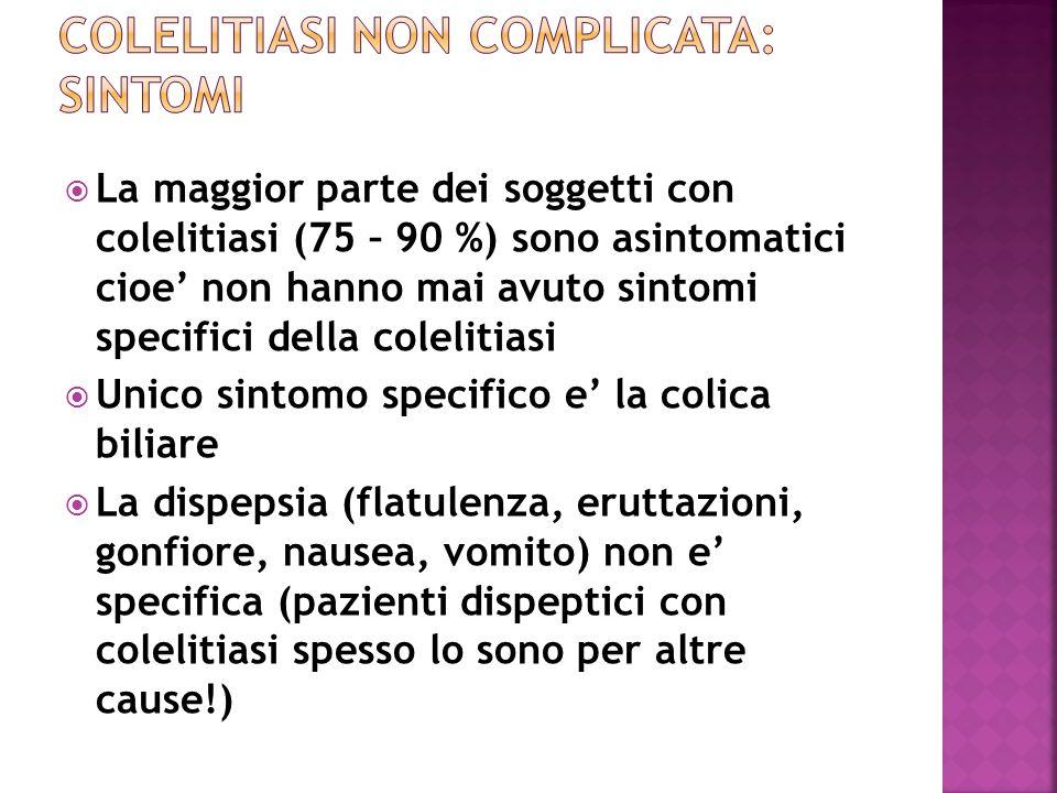 Colelitiasi non complicata: sintomi