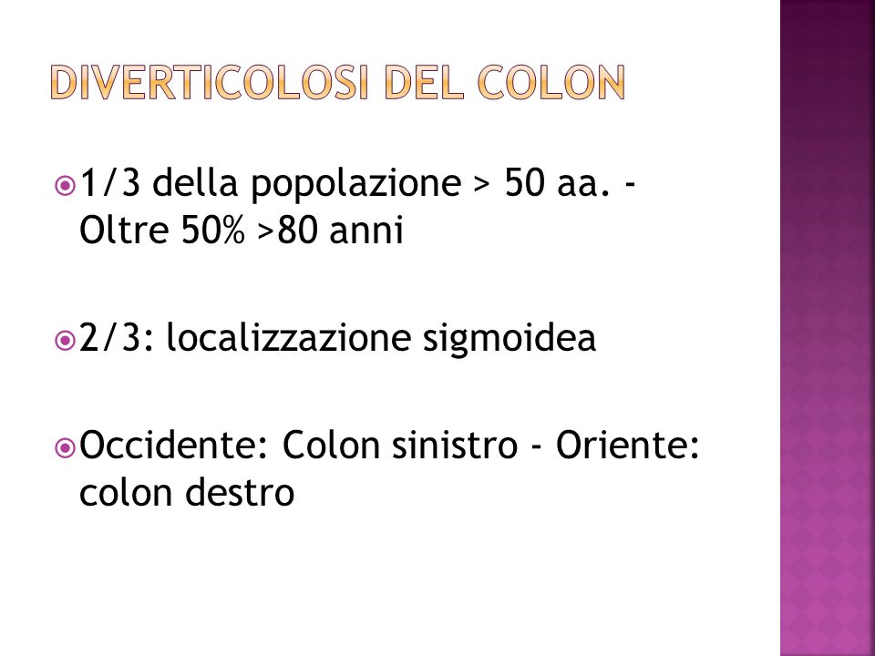 DIVERTICOLOSI DEL COLON