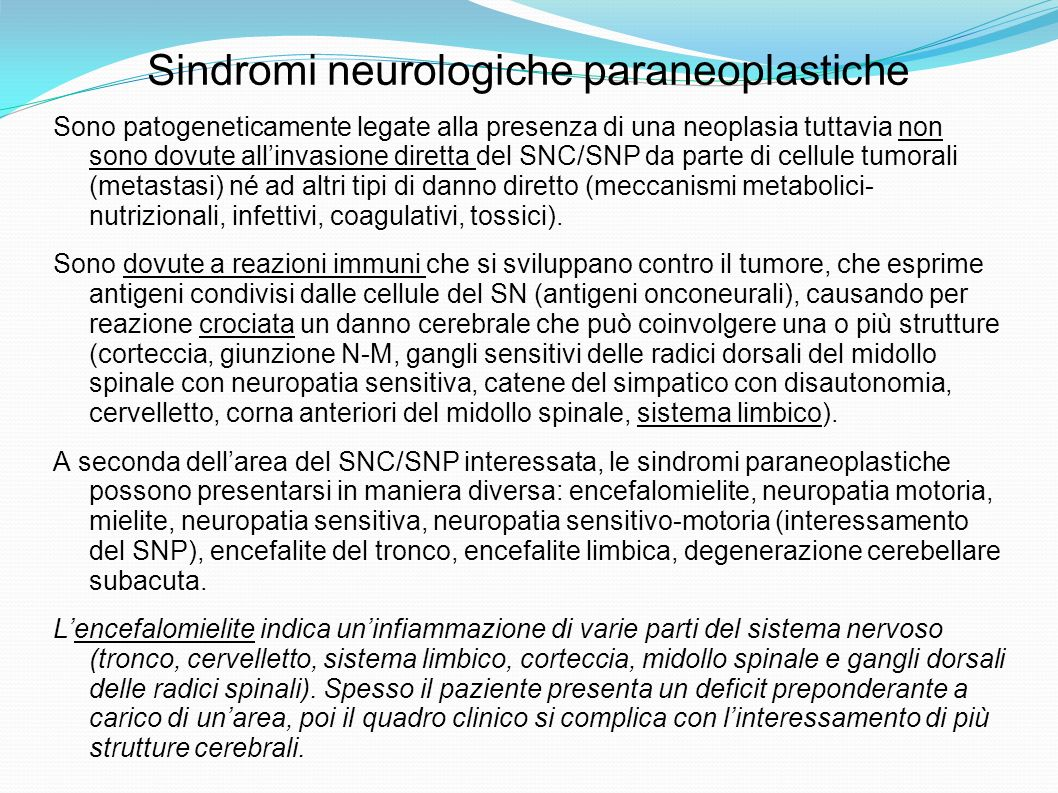 Sindromi neurologiche paraneoplastiche