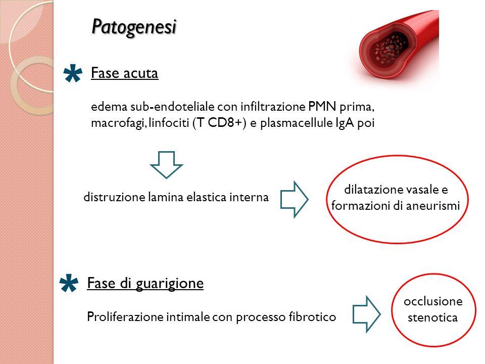 dilatazione vasale e formazioni di aneurismi