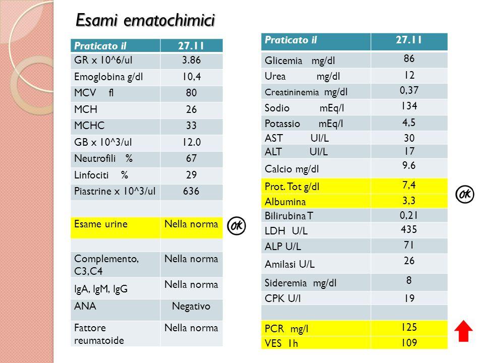 Esami ematochimici Praticato il 27.11 Glicemia mg/dl 86 Urea mg/dl 12