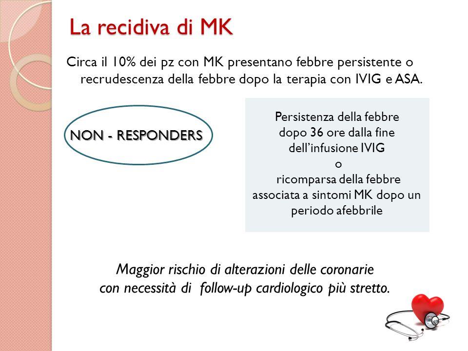 La recidiva di MK Maggior rischio di alterazioni delle coronarie