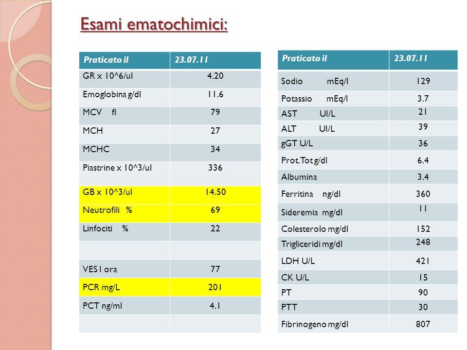 Esami ematochimici: Praticato il 23.07.11 GR x 10^6/ul 4.20