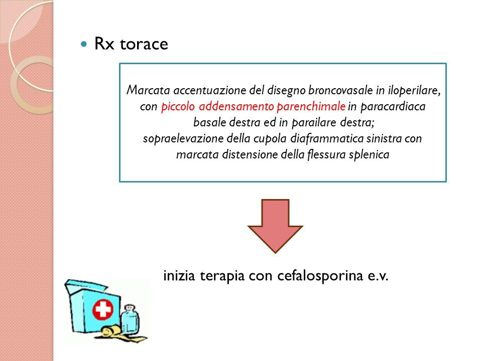 Rx torace inizia terapia con cefalosporina e.v.