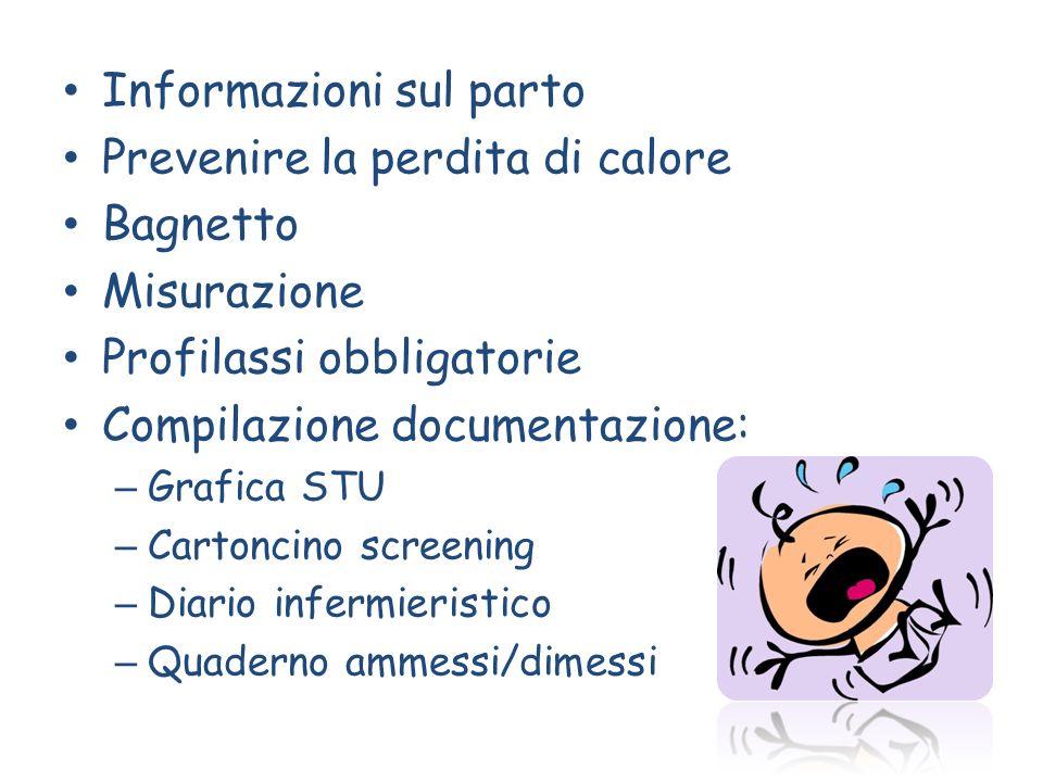 Informazioni sul parto Prevenire la perdita di calore Bagnetto