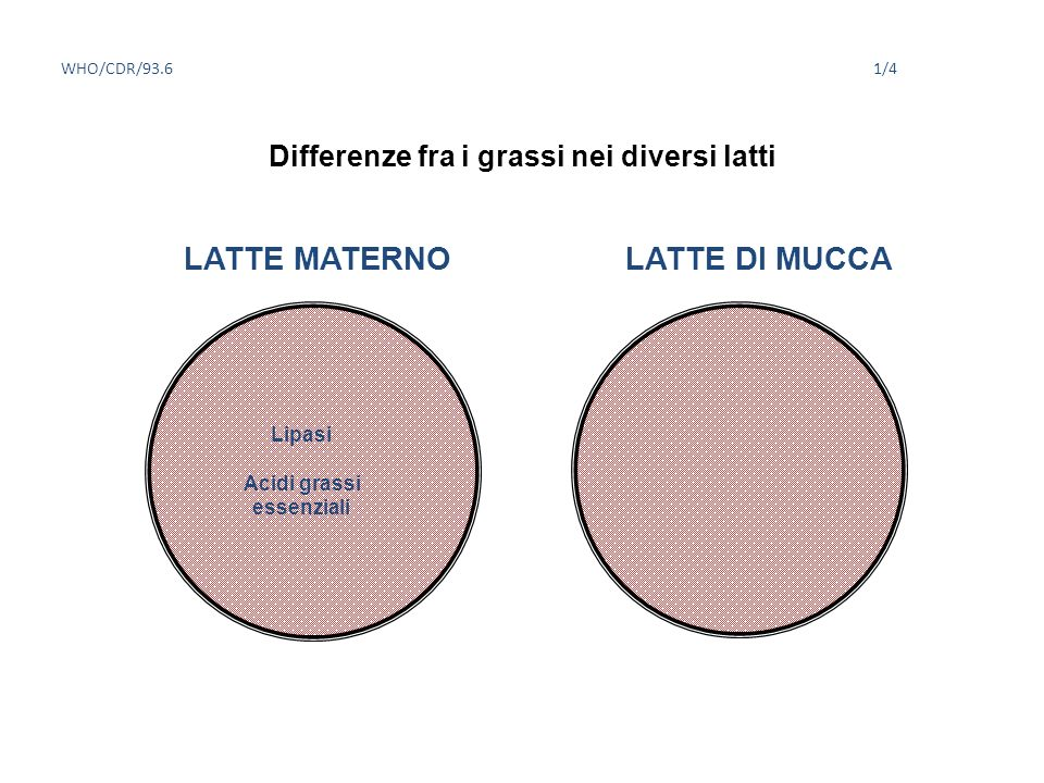 Differenze fra i grassi nei diversi latti