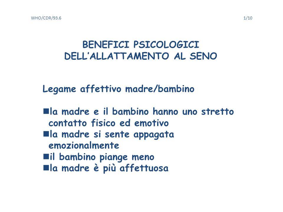 BENEFICI PSICOLOGICI DELL'ALLATTAMENTO AL SENO