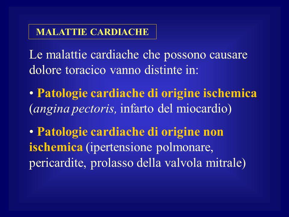 MALATTIE CARDIACHE Le malattie cardiache che possono causare dolore toracico vanno distinte in: