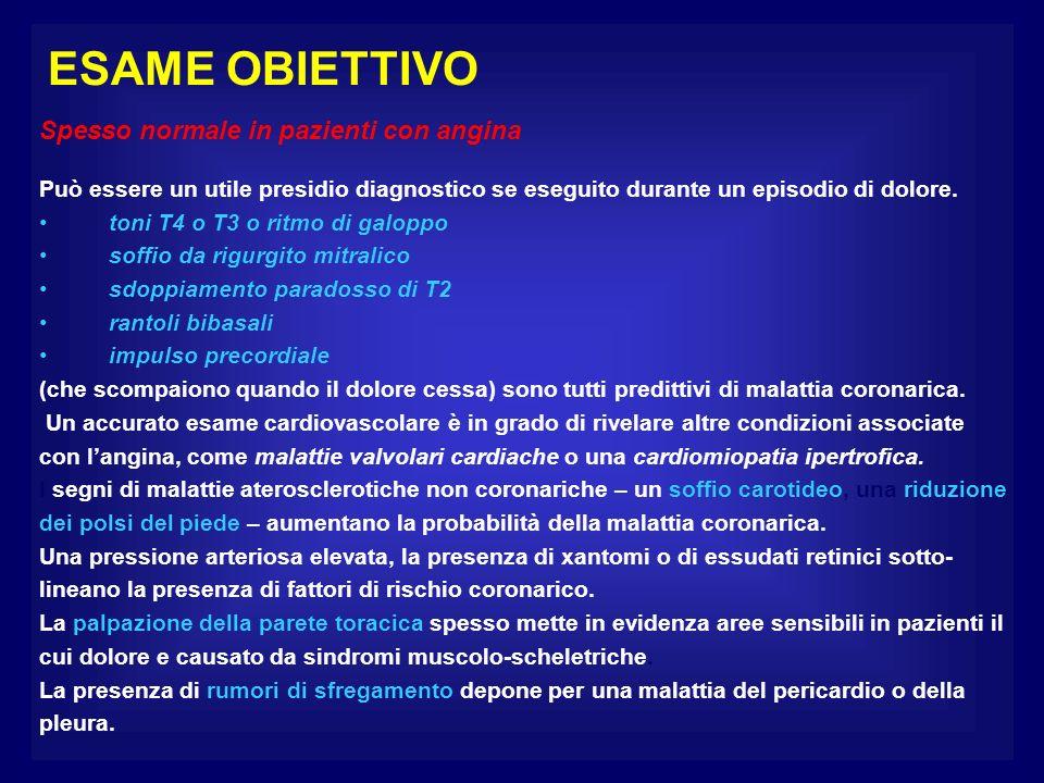 ESAME OBIETTIVO Spesso normale in pazienti con angina