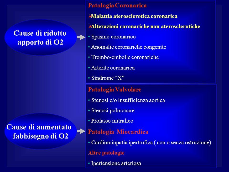 Cause di ridotto apporto di O2 Cause di aumentato fabbisogno di O2