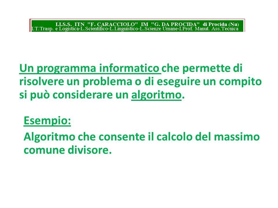 Un programma informatico che permette di risolvere un problema o di eseguire un compito si può considerare un algoritmo.