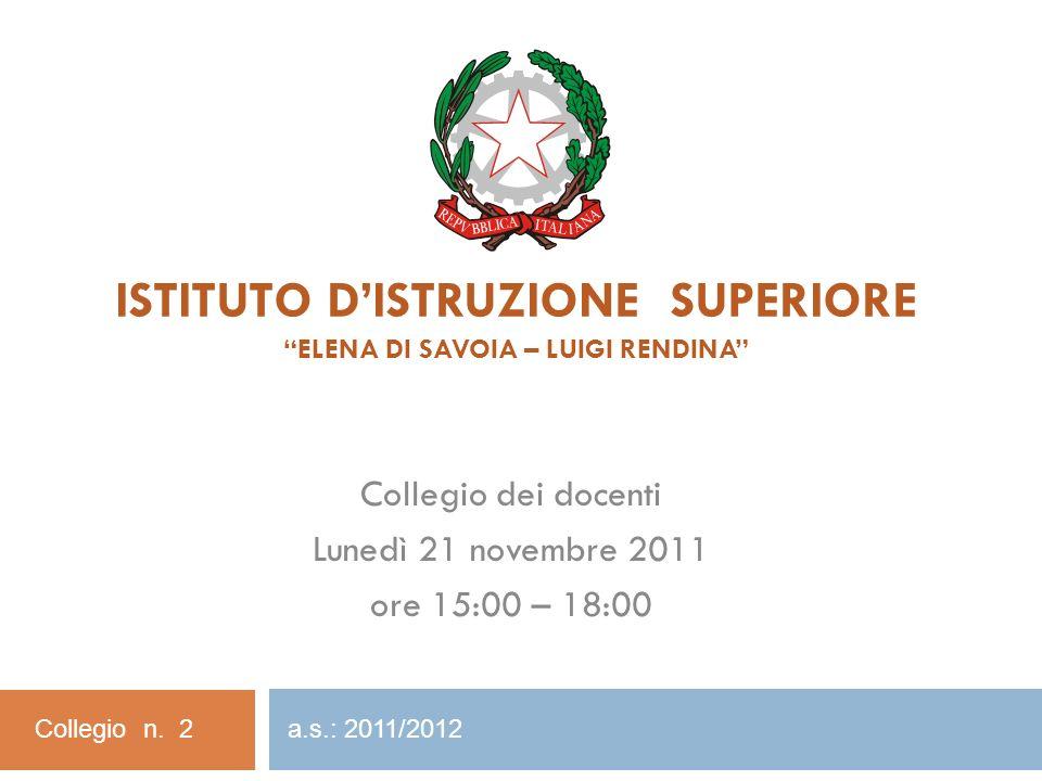 ISTITUTO D'ISTRUZIONE SUPERIORE Elena di Savoia – Luigi Rendina