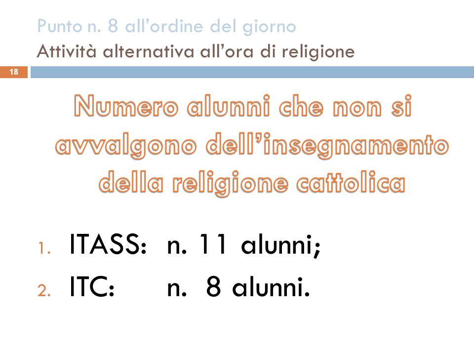 Punto n. 8 all'ordine del giorno Attività alternativa all'ora di religione