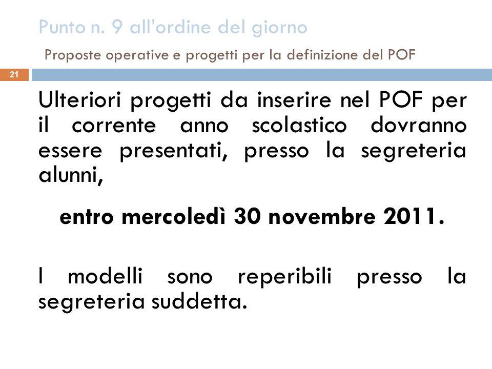Punto n. 9 all'ordine del giorno Proposte operative e progetti per la definizione del POF