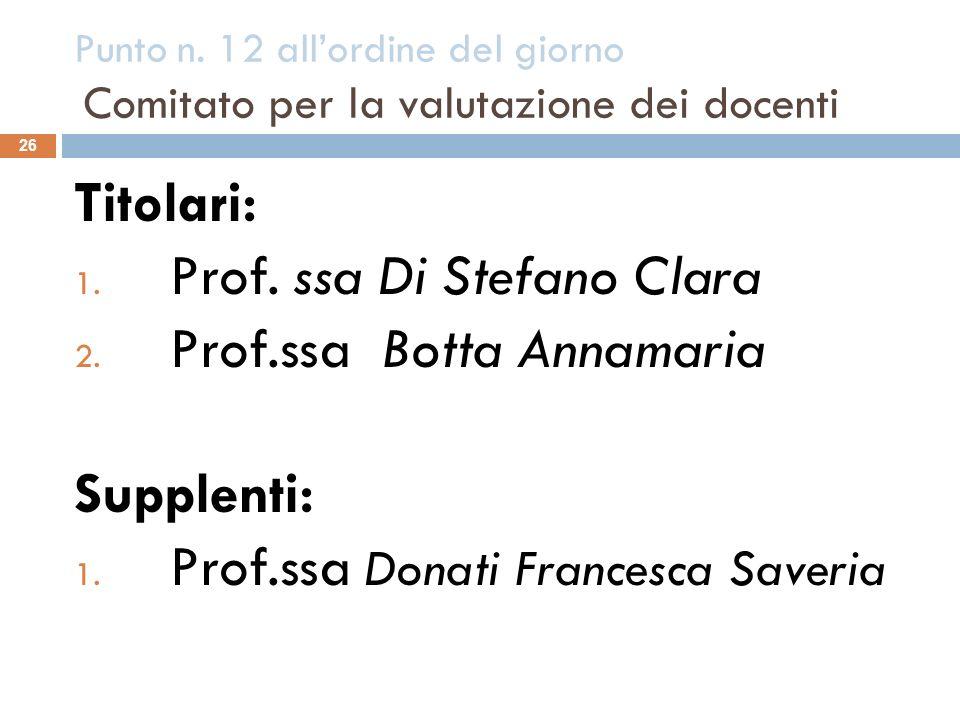 Prof. ssa Di Stefano Clara Prof.ssa Botta Annamaria Supplenti: