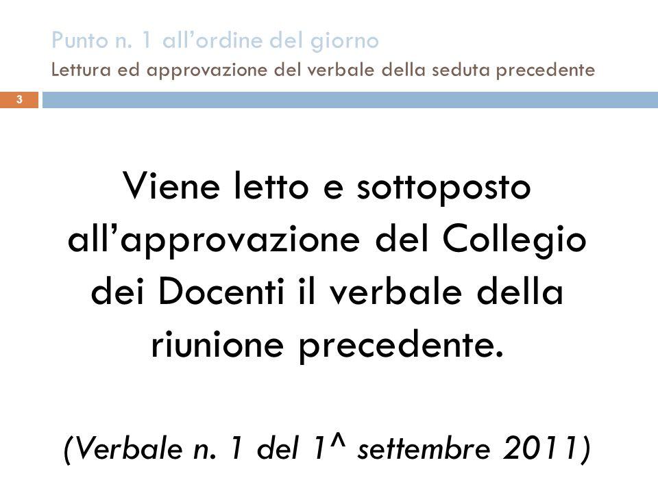 (Verbale n. 1 del 1^ settembre 2011)