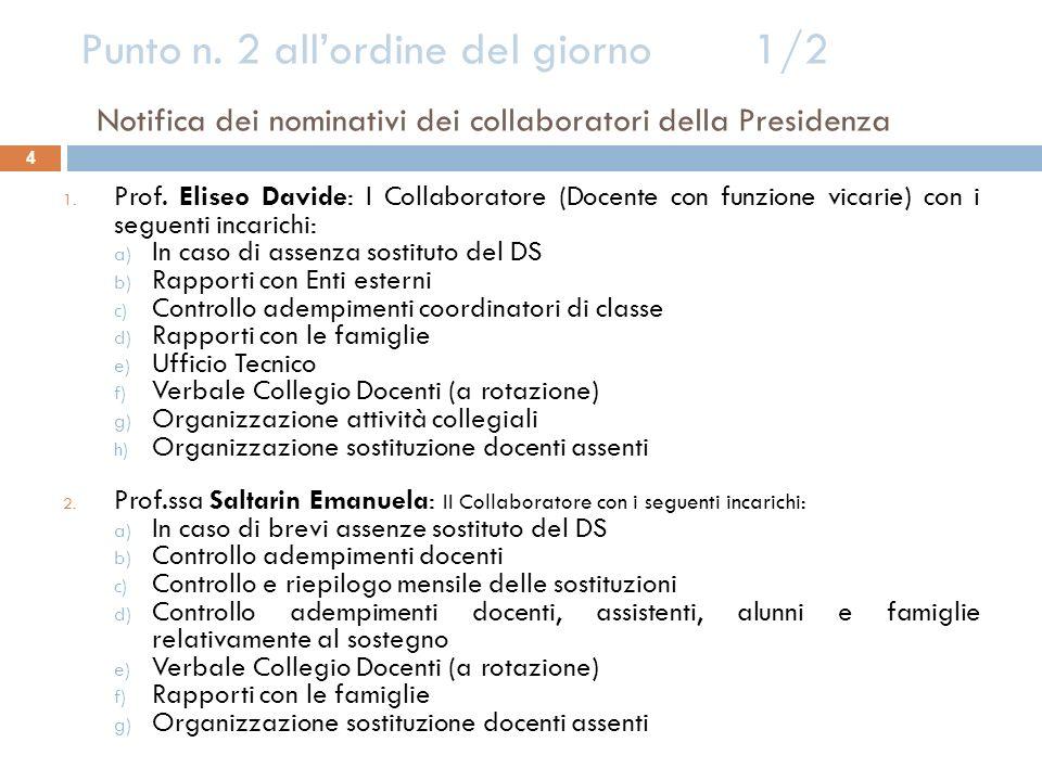 Punto n. 2 all'ordine del giorno 1/2 Notifica dei nominativi dei collaboratori della Presidenza