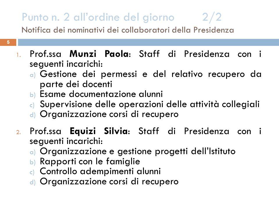 Punto n. 2 all'ordine del giorno 2/2 Notifica dei nominativi dei collaboratori della Presidenza
