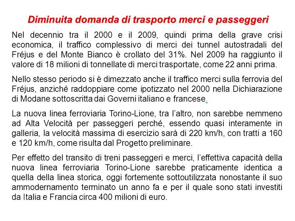Diminuita domanda di trasporto merci e passeggeri