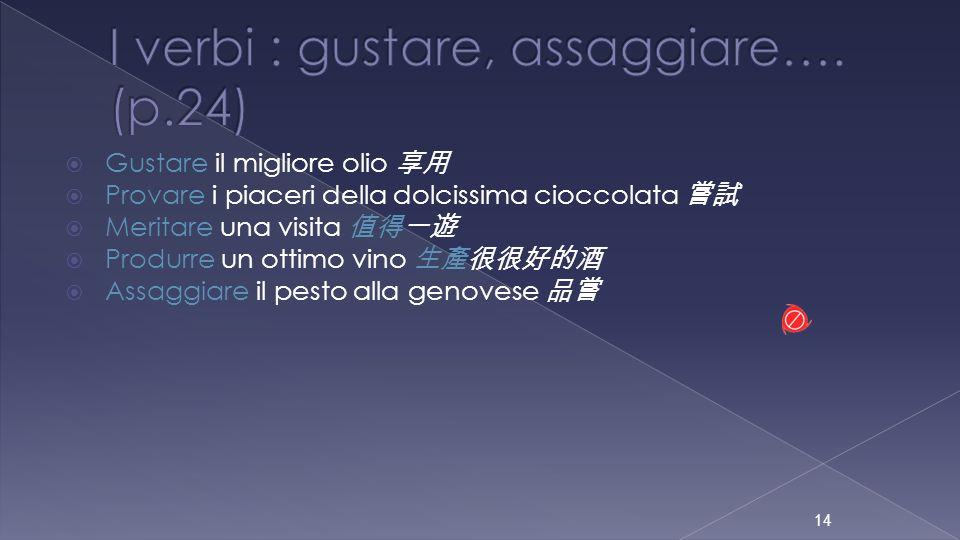 I verbi : gustare, assaggiare…. (p.24)
