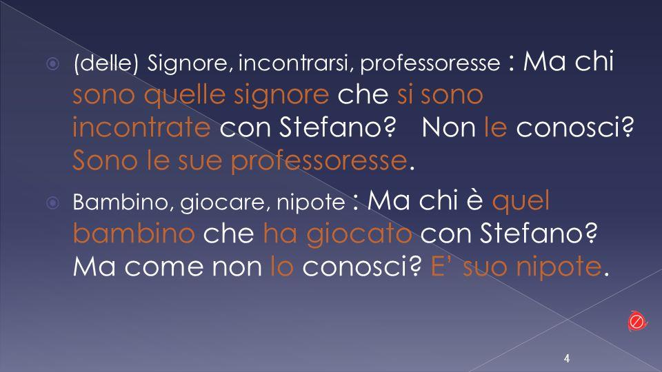 (delle) Signore, incontrarsi, professoresse : Ma chi sono quelle signore che si sono incontrate con Stefano Non le conosci Sono le sue professoresse.