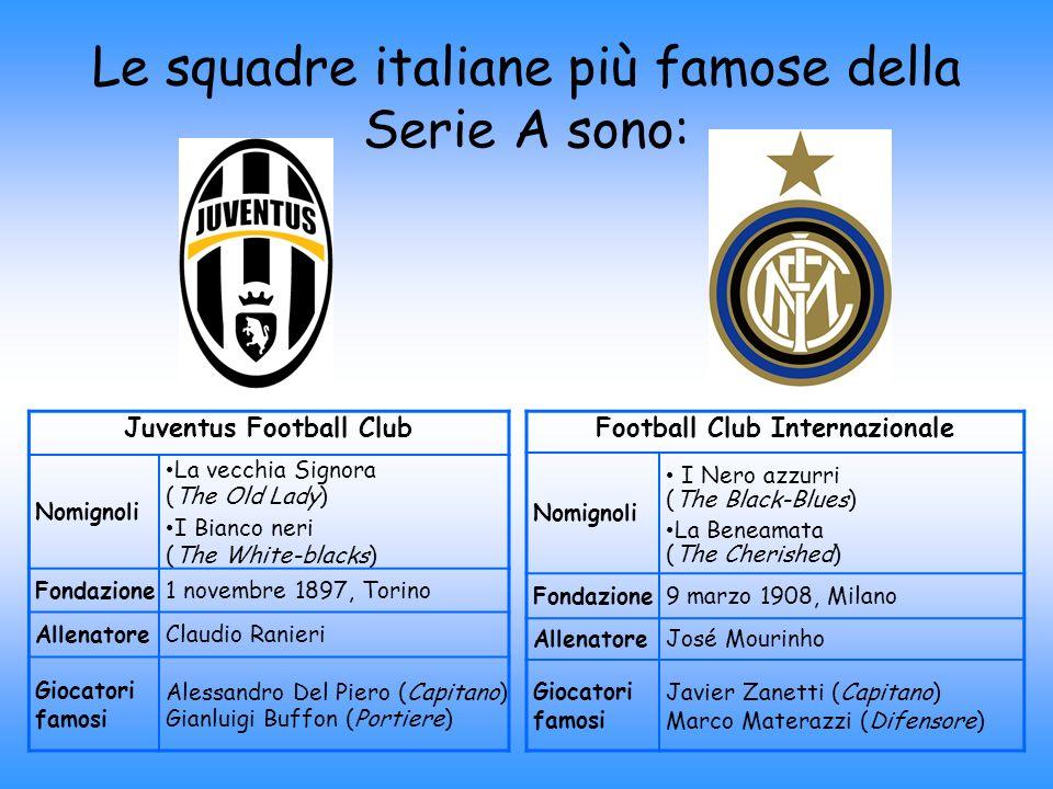Le squadre italiane più famose della Serie A sono: