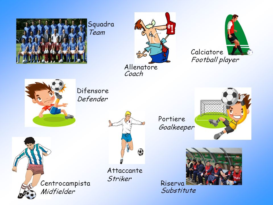 Squadra Team. Calciatore. Football player. Allenatore. Coach. Difensore. Defender. Portiere.