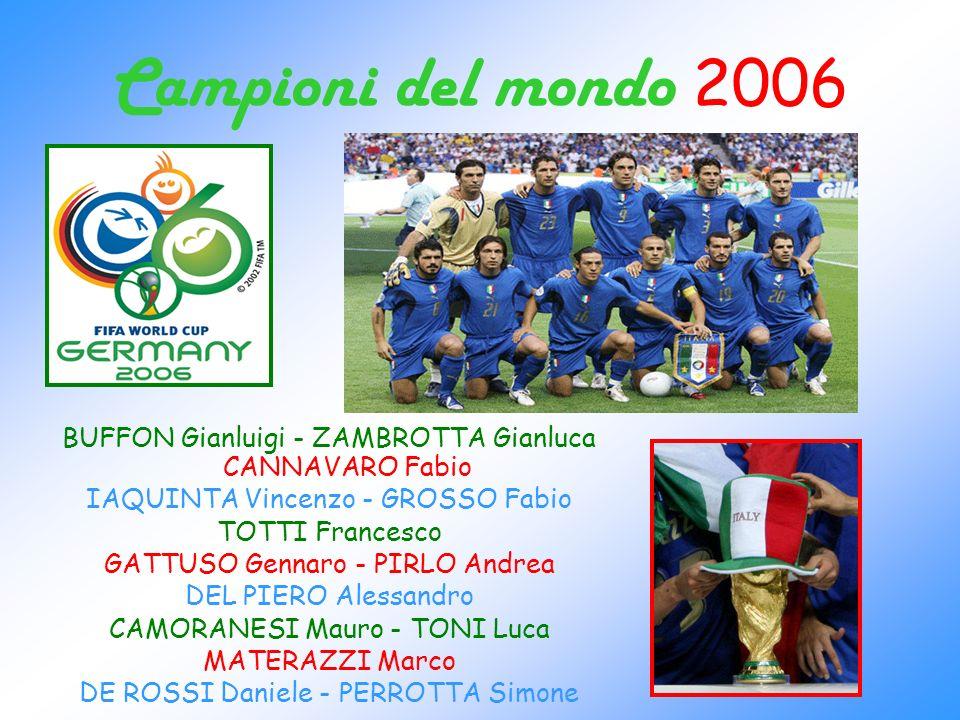 Campioni del mondo 2006 BUFFON Gianluigi - ZAMBROTTA Gianluca CANNAVARO Fabio. IAQUINTA Vincenzo - GROSSO Fabio.