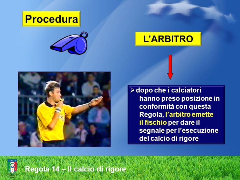 Procedura Regola 14 – Il calcio di rigore L'ARBITRO