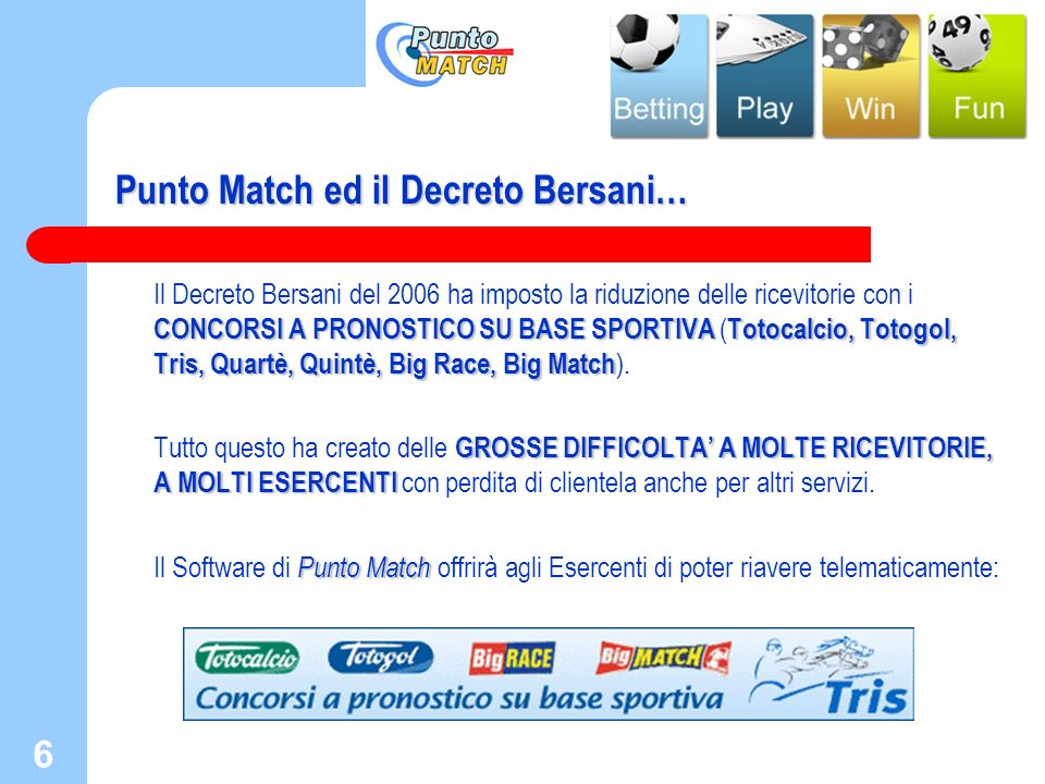 Punto Match ed il Decreto Bersani…