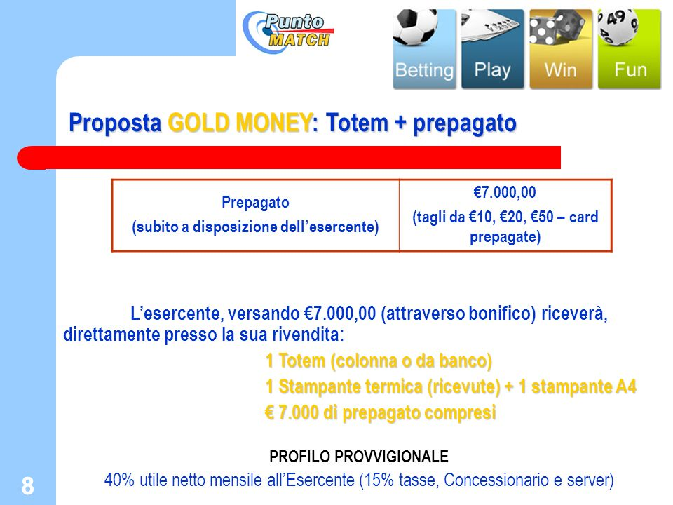 Proposta GOLD MONEY: Totem + prepagato