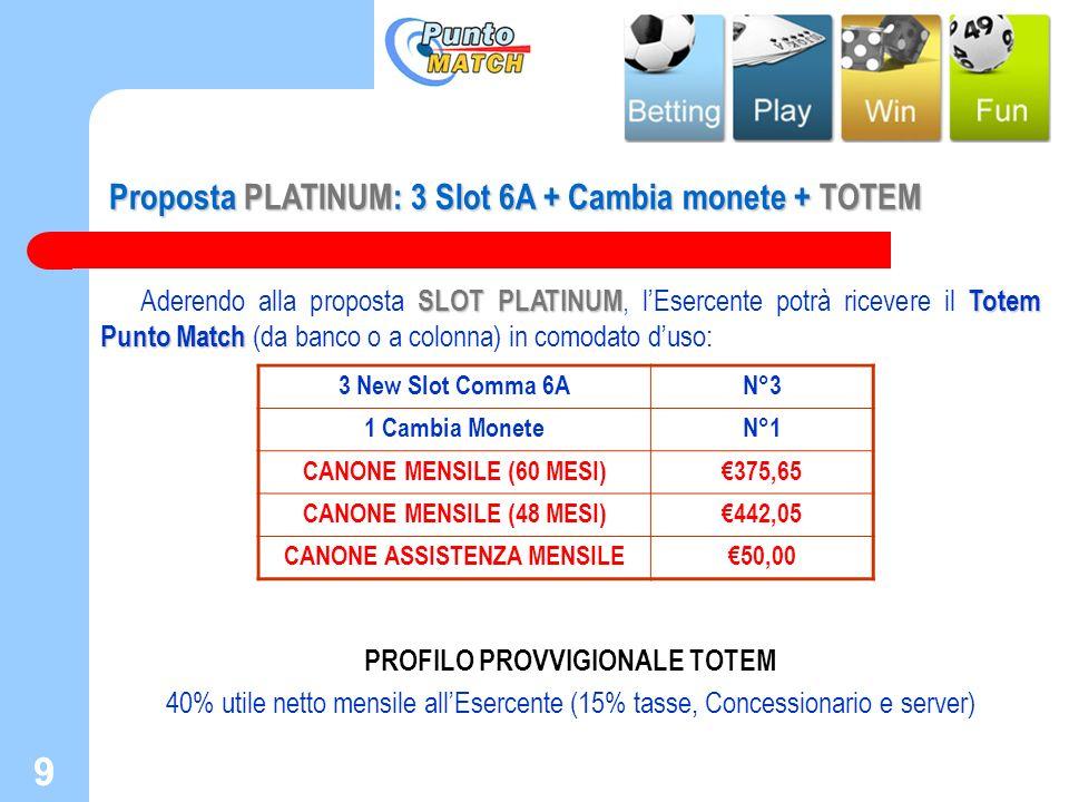 9 Proposta PLATINUM: 3 Slot 6A + Cambia monete + TOTEM