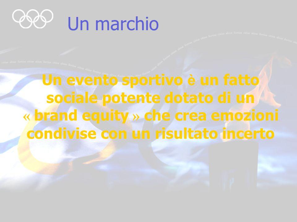 Un marchio Un evento sportivo è un fatto sociale potente dotato di un « brand equity » che crea emozioni condivise con un risultato incerto.