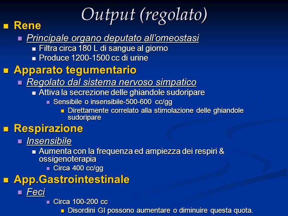 Output (regolato) Rene Apparato tegumentario Respirazione