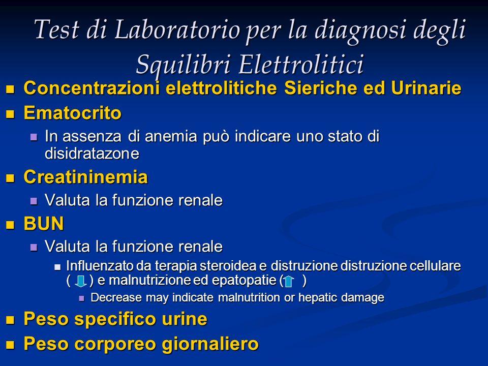Test di Laboratorio per la diagnosi degli Squilibri Elettrolitici