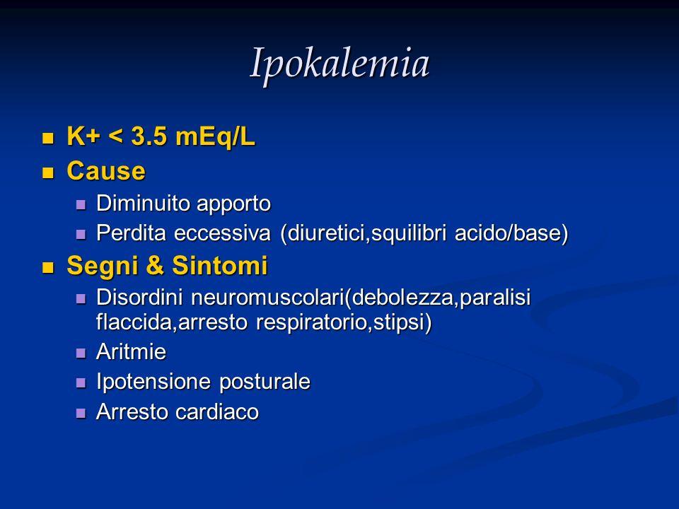 Ipokalemia K+ < 3.5 mEq/L Cause Segni & Sintomi Diminuito apporto