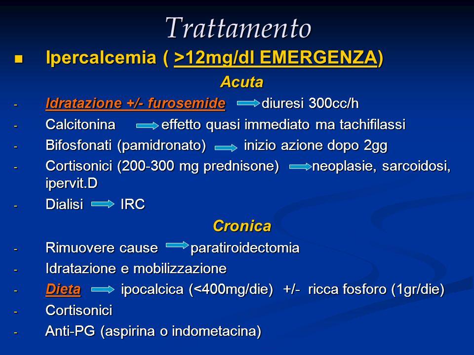 Trattamento Ipercalcemia ( >12mg/dl EMERGENZA) Acuta Cronica