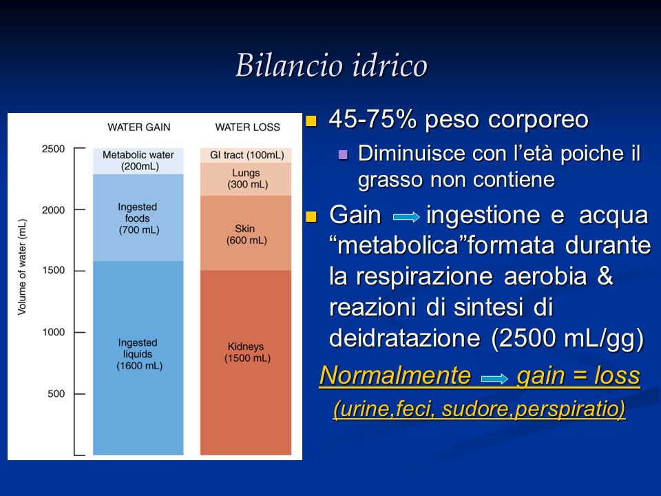Bilancio idrico 45-75% peso corporeo