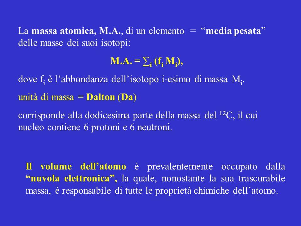 La massa atomica, M.A., di un elemento = media pesata delle masse dei suoi isotopi: