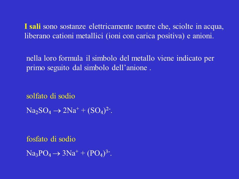 I sali sono sostanze elettricamente neutre che, sciolte in acqua, liberano cationi metallici (ioni con carica positiva) e anioni.