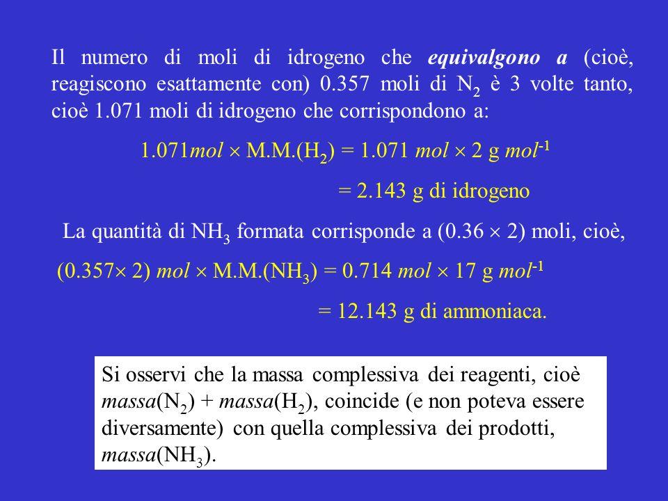 Il numero di moli di idrogeno che equivalgono a (cioè, reagiscono esattamente con) 0.357 moli di N2 è 3 volte tanto, cioè 1.071 moli di idrogeno che corrispondono a: