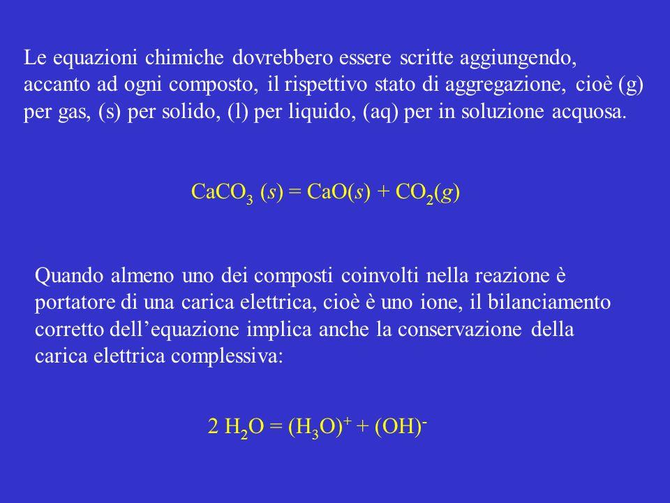 Le equazioni chimiche dovrebbero essere scritte aggiungendo, accanto ad ogni composto, il rispettivo stato di aggregazione, cioè (g) per gas, (s) per solido, (l) per liquido, (aq) per in soluzione acquosa.
