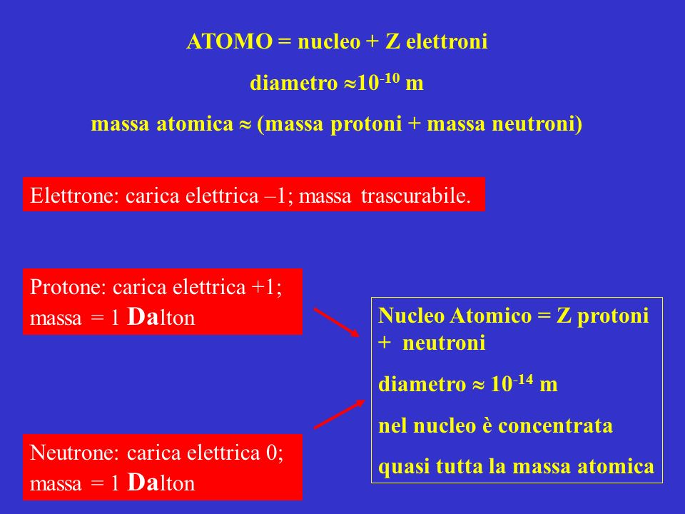 ATOMO = nucleo + Z elettroni diametro 10-10 m