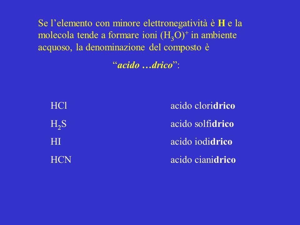 Se l'elemento con minore elettronegatività è H e la molecola tende a formare ioni (H3O)+ in ambiente acquoso, la denominazione del composto è