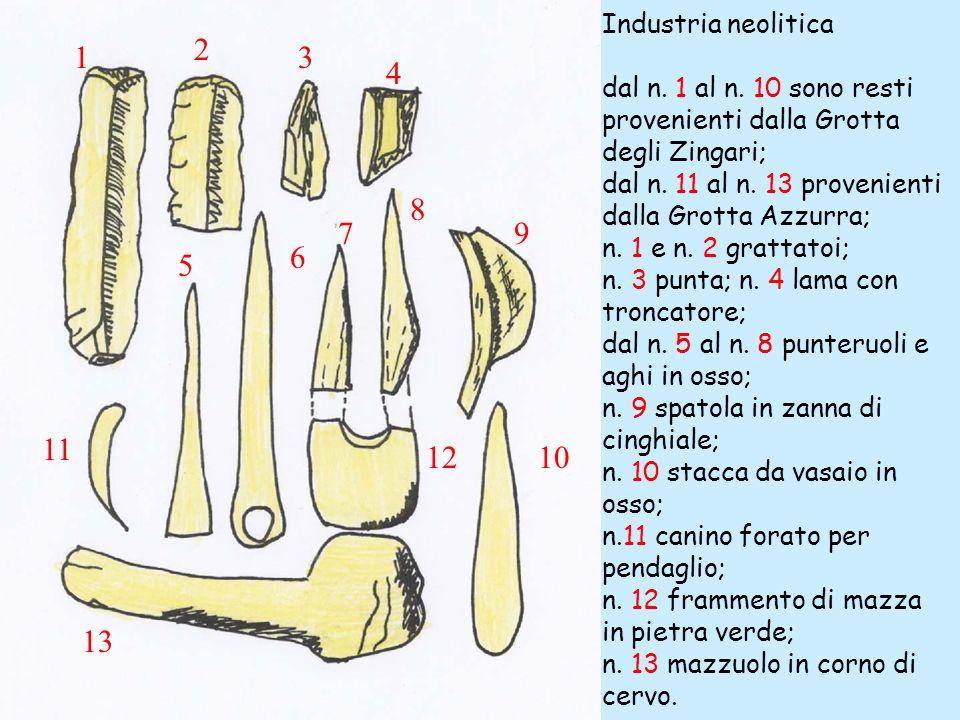 Industria neolitica dal n. 1 al n. 10 sono resti provenienti dalla Grotta degli Zingari; dal n. 11 al n. 13 provenienti dalla Grotta Azzurra;