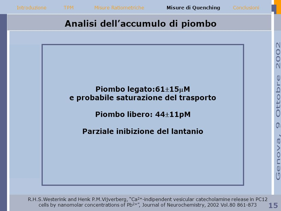 Analisi dell'accumulo di piombo